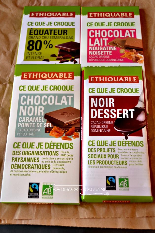 Produits bio Ethiquable avec des tablettes de chocolat lait ou noir - partenariat