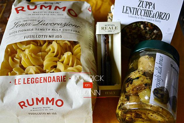 Produits ItaliAmore offert en partenariat avec pâtes, artichauts et balsamique - recette Italienne