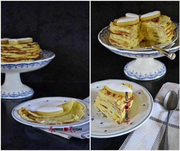 Recette chandeleur - Composition gâteau de crepes à la crème pâtissière aux calissons