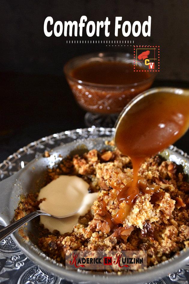 Crumble pomme au pain d'épice et caramel beurre salé - recette comfort food