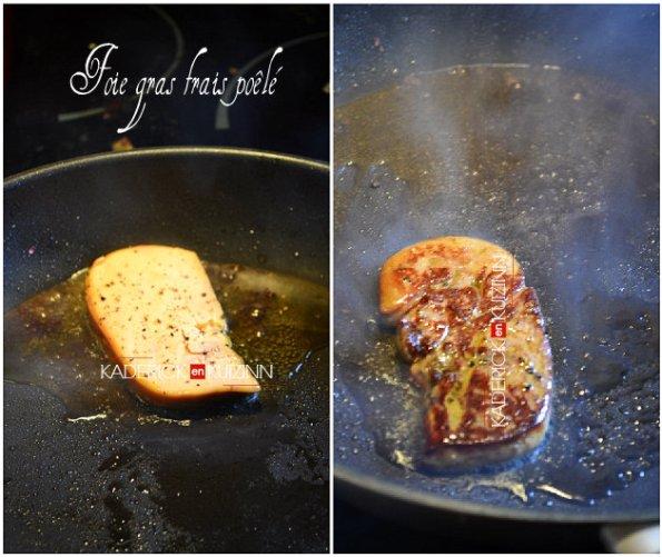 Cuisson de l'escalope de foie gras frais dans une poêle chaude - recette de fêtes
