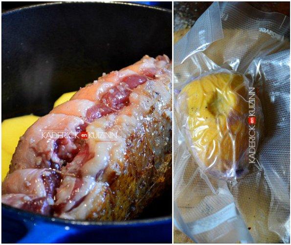 Cuisson rôti au magret de canard et foie gras mi-cuit à la vapeur - recette à la vapeur