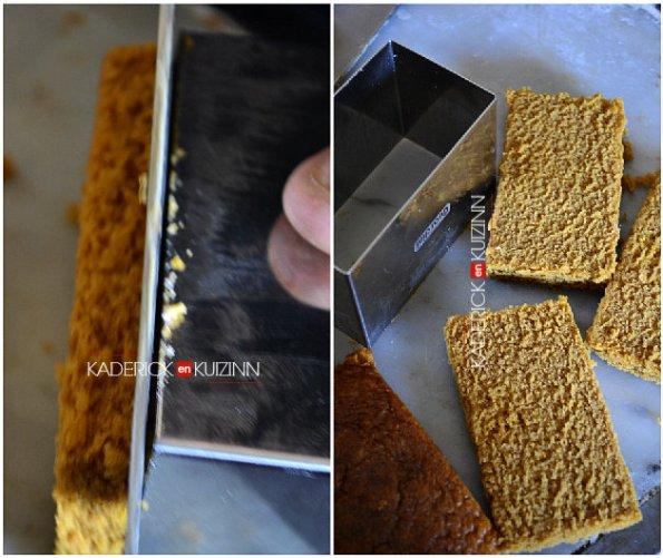 Découpage des tranches rectangulaires dans le pain d'épice bio - recette de fêtes