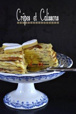 Dégustation du gâteau de crêpes garnies de crème pâtissière aux calissons - recette chandeleur