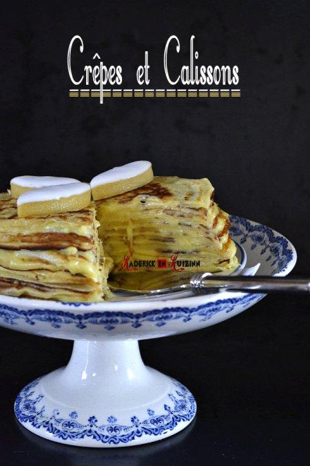 Dégustation du gâteau de crepes garnies de crème pâtissière aux calissons - recette chandeleur