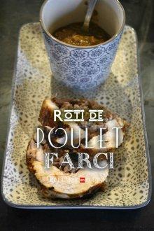 Dégustation rôti de poulet, farce au foie gras sous vide, cuit vapeur - recette de fêtes