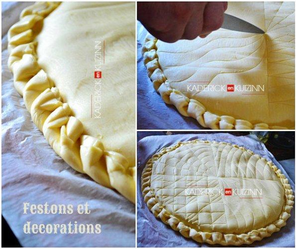Festons et décorations de la galette à la crème frangipane aux amandes - recette de base