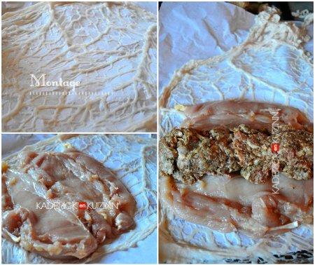 Montage roti poulet avec les blancs farcis au foie gras entouré de crépine - recette de volaille