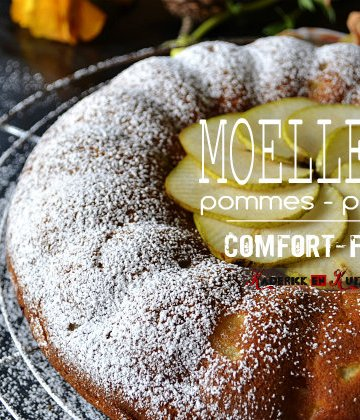 Recette du moelleux aux pommes bio, poires bio, amandes bio - Recette comfort food