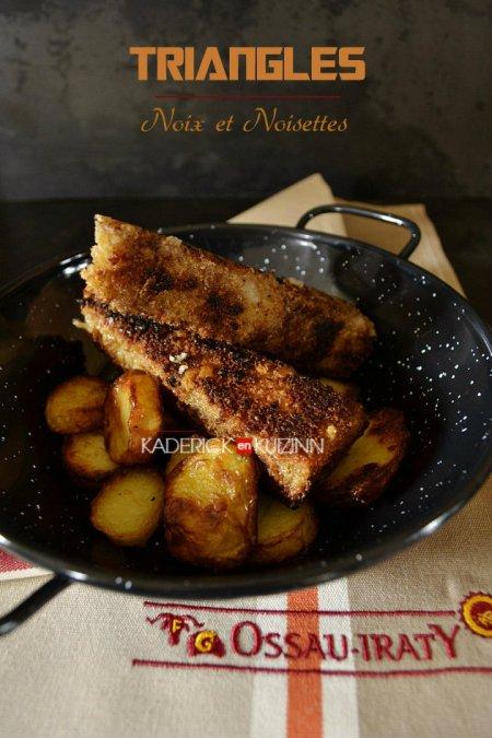 Dégustation recette fromage d'ossau iraty pané avec la chapelure de pain, noix et noisettes - recette comfort food
