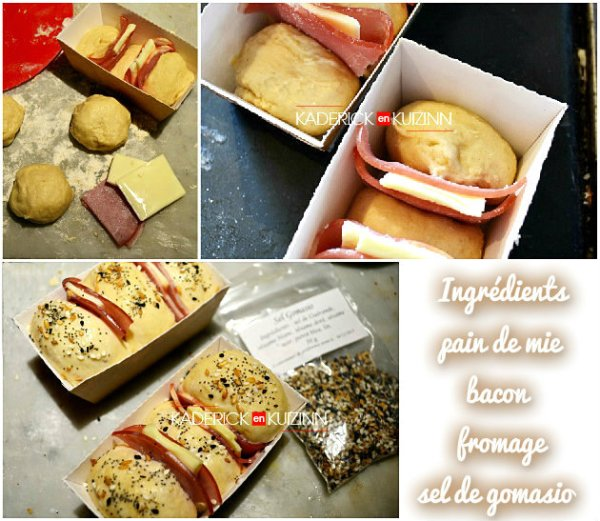 Ingrédients des petits pain de mie au bacon, fromage et sel gomasio