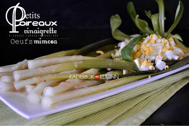 Recette des petits poireaux à la vinaigrette moutardée et œufs mimosa - recette d'entrée