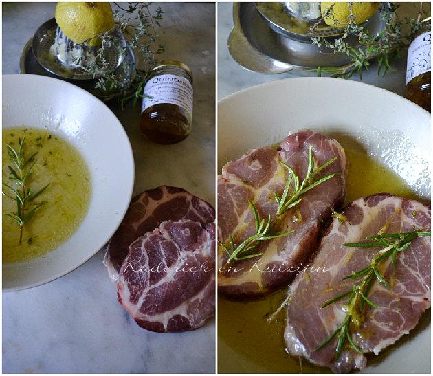 Porc plancha - Composition de la marinade sucré-salé huile d'olive, miel, citron bio, thym, romarin