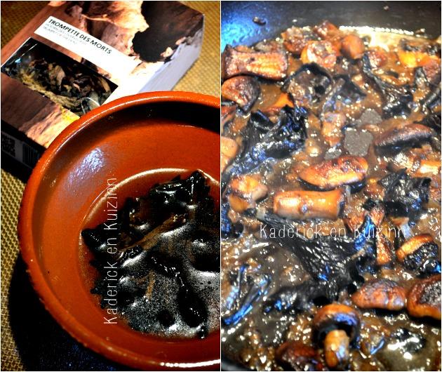 Recette aiguillettes poulet - cuisson des champignons et trompette de mort à la sauce crème légère d'estragon