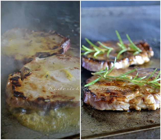 Porc plancha - Cuisson plancha des échines de porc marinade sucré-salé au miel, citron, romarin et thym