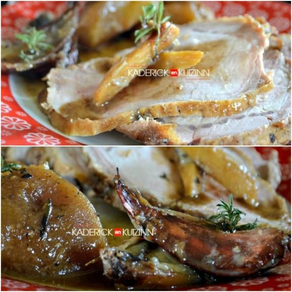 Recette porc - rôti de porc à la cocotte en sucré-salé aux pommes pour Culino Versions