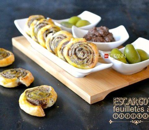 Escargots tapenade - Recette apéritif minis feuilletés