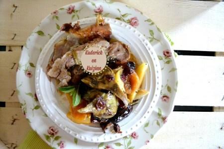 Agneau confit - Recette sucrée-salée d'épaule d'agneau cuite à la rôtissoire