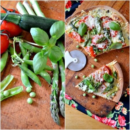Recette pizza - Pizza végétarienne aux légumes bio ricotta et coriandre
