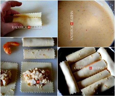 Recette cannelloni - Cannelloni à la farce noix St-Jacques, crevettes et parmesan