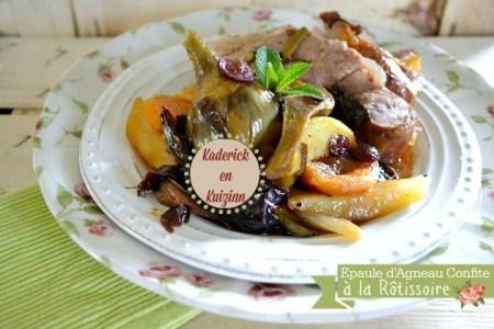 Agneau confit - Recette sucrée-salée d'épaule d'agneau à la rôtissoire