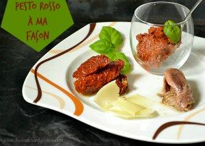 recette pesto rosso italien à ma façon avec des tomates séchées, anchois, manchego, basilic