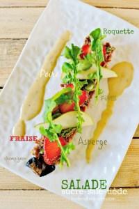 Calendrier jour 2 - Salade fraise - Salade au confit de canard, roquette et fraises