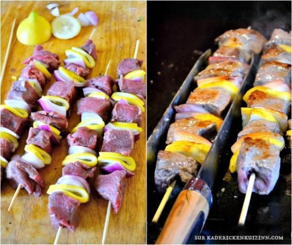 Brochettes boeuf - Plancha de boeuf au citron et moutarde aux épices