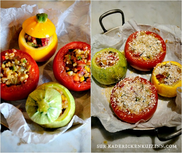 Courgettes tomates - Légumes d'été farcis ratatouille et trio de céréales bio