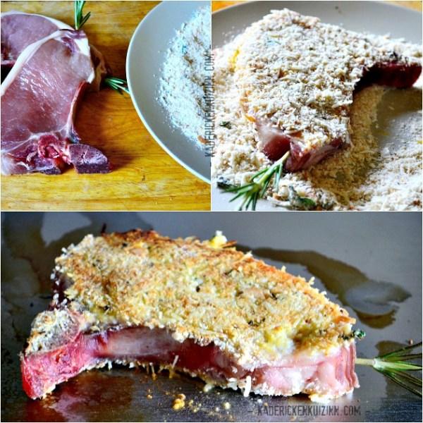 Recette plancha porc - Côtes panées au fromage ossau iraty et romarin