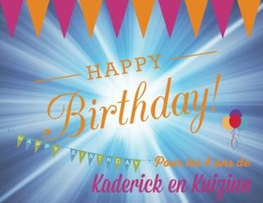 Logo anniversaire des 4 ans du blog de cuisine Kaderick en Kuizinn