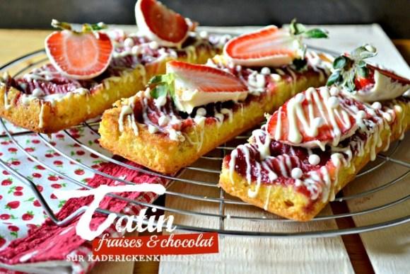 Recette madeleine tarte tatin aux fraises et chocolat blanc
