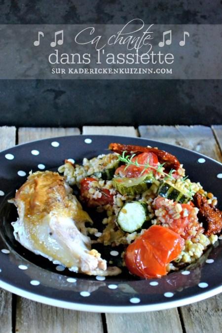 Poulet roti - Recette poulet aux légumes d'été et trio de céréales bio