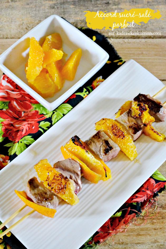 Plancha canard - Brochettes magret de canard et segments d'orange