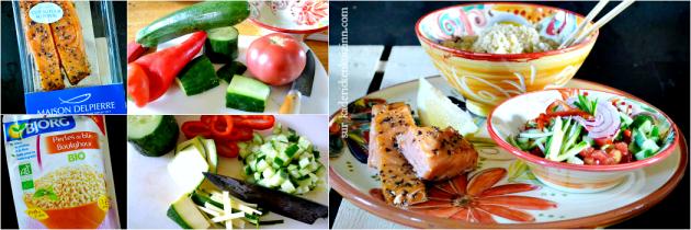 Saumon salade - Saumon fumé au poivre boulghour et tartare légumes bio