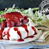 Pavlova recette - Pavlova pêche au sirop framboises et coulis