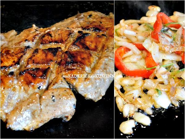Carbonnade plancha grillade de porc marin e citron et miel for Temps de cuisson plancha