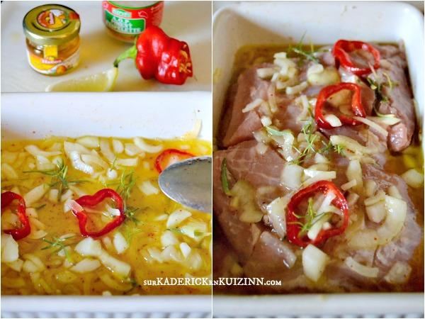 Carbonnade plancha - Grillade de porc marinée citron, piment et miel
