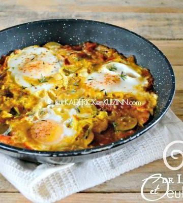 Recette legumes - Poêlée de légumes curcuma et oeufs au plat