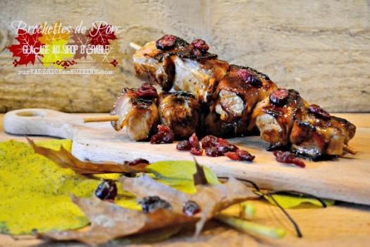 Saveurs Quebec - Brochettes de porc glaçage au sirop d'érable