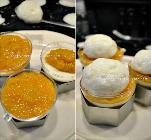 Montage panna cotta clementines surmontées blanc en neige pour boule neige