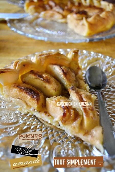 Recette tarte pommes à l'ancienne, amande en poure et vanille - Kaderick en Kuizinn