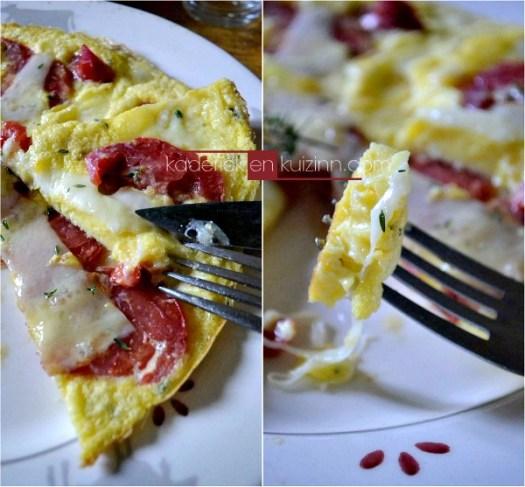 Recette omelette - Omelette betterave au fromage et sarriette - Kaderick en Kuizinn