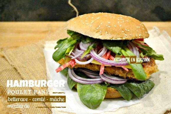 Hamburger poulet pané betterave mâche et comté - Kaderick