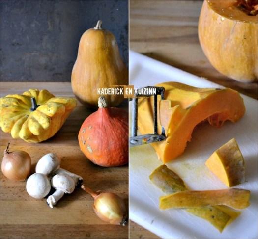 Soupe moulinee d'antan de potimarron, butternut, pâtisson et champignon - Kaderick en Kuizinn