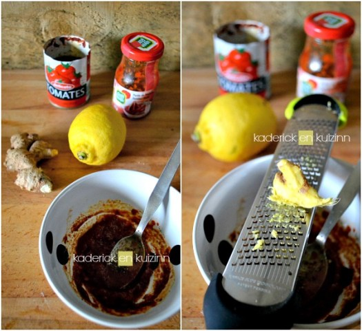 Préparation cabillaud cuit au four en sauce tomate à l'indienne - Kaderick en Kuizinn