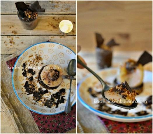 Présentation Poire chocolat - Croustillant poire pochée et chocolat - Kaderick en Kuizinn
