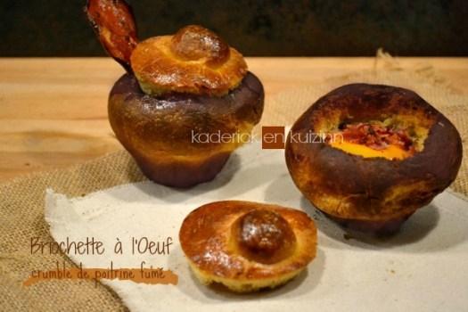 Recette briochettes salées aux œufs et crumble de poitrine fumée - Kaderick en Kuizinn
