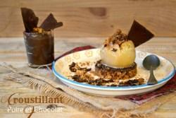 Recette Poire chocolat - Croustillant poire pochée et chocolat - Kaderick en Kuizinn