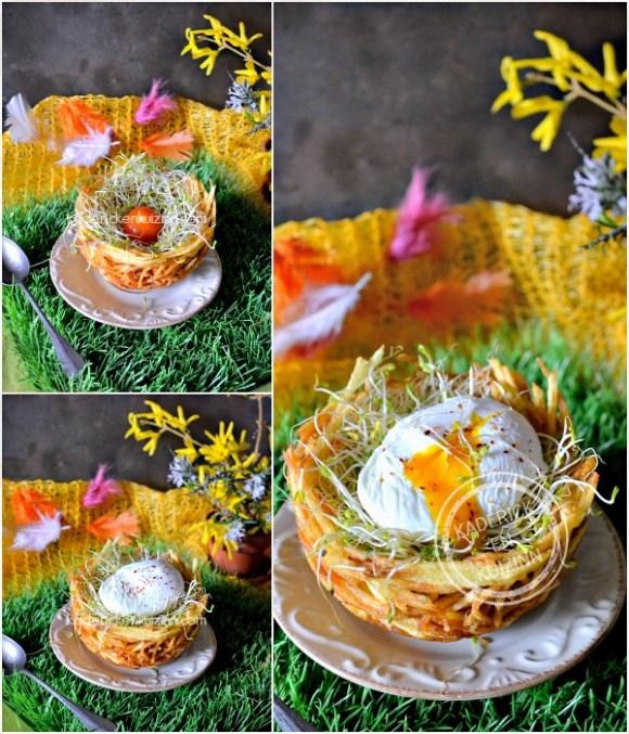Présentation Paques - Nid de Paques pomme paille et œuf poché chez Kaderick en Kuizinn